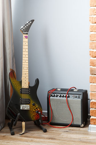 vintage electric guitar and guitar amplifier